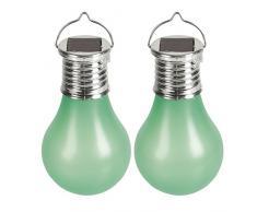 Cogex 403686-Set di 2 lampade a energia solare a LED con gancio in plastica verde, diametro 6 cm