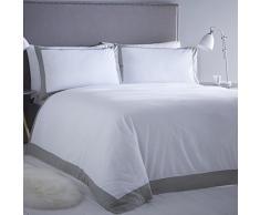 Serene Madison Biancheria da letto, Bianco con un Bordo Contrast, Grigio, Singolo