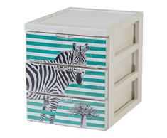 IRIS Ohyama, Scaffale Design Ufficio 3 cassetti - Stile Chest - CFS-A5, plastica, Tema Zebra, 6 L, 19,1 x 25,8 x 22 cm