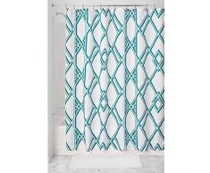 InterDesign Deco Geo Tenda da doccia con asole rinforzate, Tende doccia tessuto idrorepellente in poliestere con motivo geometrico 183,0 cm x 183,0 cm, verde smeraldo