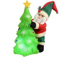 Natale wer 39 cm pre-illuminato luce Babbo Natale albero di Natale decorativo con LED che cambia, multicolori