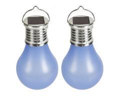 Cogex 403736-Set di 2 lampade a energia solare a LED con gancio in plastica, colore: blu, diametro: 6 cm