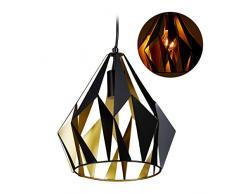 Relaxdays, nero Lampadario da Soffitto, Design Retrò, Metallo, Paralume a Diamante, Lampada a Sospensione, E27 140x27 cm, 60 W, 1