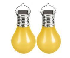 Cogex 403746-Set di 2 lampade a energia solare a LED con gancio in plastica, diametro 6 cm, colore: giallo