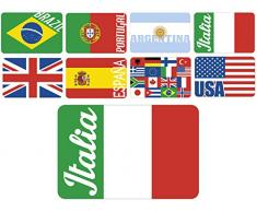 HOME 8522600 Set 18 Tovagliette Polipropilene Decorazione Flag Arredo Tavola Tessili