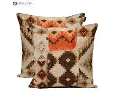 DHestia Pack x 2 federe per Cuscini Decorazione Divano e Letto 45 x 45 cm Design (Etnic 156), Multicolore, 45 x 45 cm