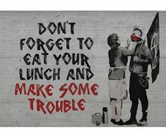 DELESTER 2728 Vexxxl Progettazione Banksy Tipo di Carta da Parati Stradale, Carta da Parati Non Tessuto, Grigio, 4 Pezzi, Composto da 416 x 254 cm