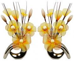 Flourish - Argento Vaso Con Fiori Finti in Tessuto e Fil di Ferro, 32 cm, Coppia Corrispondente, Decorazioni per le Casa, Colore: Arancione