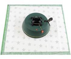Krinner 94225 - Set di Supporto per Albero di Natale Comfort M + Coperta Verde (Altezza Albero Fino a 2,50 m, Diametro Tronco 12 cm, Serbatoio Acqua 3,5 L)