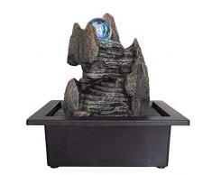 ZenLight - Fontana da Interno Zen Scala Stile Scala di Acqua Naturale con Pompa e Illuminazione LED - 23 x 17 x 25 cm