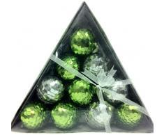 MG Decor Madhus Collection - Palline per albero di Natale assortite, rivestite in paillettes, colore: verde lime/argento, in confezione regalo, 10 pz
