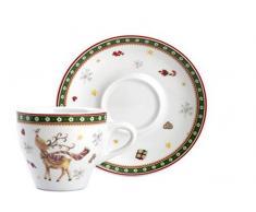 Home Natale Confezione 4 Tazze caffè, CC 90, con Piattino, Porcellana, 12x12x7 cm, 4 unità