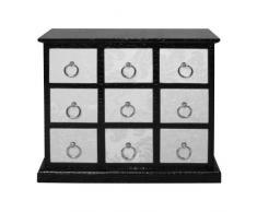 Premier Housewares 2403249 Cassettiera di 9 Cassetti Affollato Avorio e Coccodrillo Effetto Pelle Nero con Maniglie in Metallo