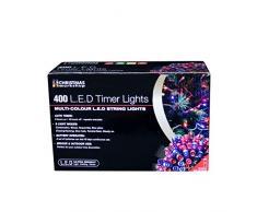 The Christmas Workshop - 400 luci natalizie a LED, funzionamento a batteria con timer, multicolore