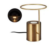 relaxdays Lampada da Tavolo Dorata, Design Industrial Moderno, Rotonda, Metallo, E27, Scrivania & Comodino, H 19 cm, oro, 19 x 14,5 x 14,5 cm