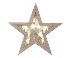 Decor Service Stella di Natale Effetto Legno con luci LED 40 cm