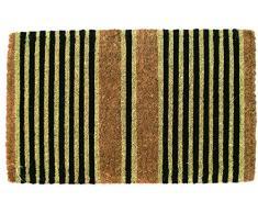 Entryways - Zerbino in fibra di cocco, motivo: righe, 40 x 60 cm, spessore extra, Nero