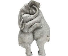 KARE Elephant Hug Statuetta Decorativa, Grigio, One Size