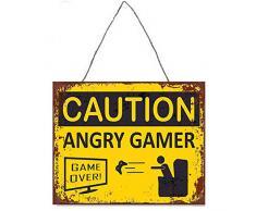Primus - Placca da Parete in Metallo, 33 x 25 cm, per Cucina, Garage, Camera da Letto, Uomo (Angry Gamer), Taglia Unica