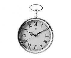 H&H Orologio Parete UK Style Cm23 Arredo E Decorazioni Casa, Acciaio/Bianco, 23 cm