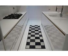 Serdim Rugs Gelback Tappeto Antiscivolo dal Design Geometrico per Cucina e corridoi Multiuso – tappetini, Nero-Quadrato, 80x300cm(26 x910)