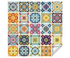 Wall Genie Piastrelle adesive, in Vinile, Multicolore, 150 mm x 150 mm
