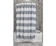iDesign Tende per Doccia Design a Righe, Tenda per Vasca da Bagno x 183,0 cm in Cotone e Poliestere, Bianco/Blu Navy