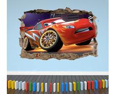 Wall Decor 247 Adesivo da Parete 3D Saetta McQueen Cars Smashed Breakout per Camera da Letto per Ragazzi e Ragazze, Paesaggio Medio 50 cm (Larghezza) x 35 cm (Altezza).