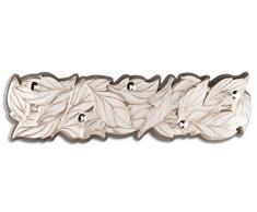 Pintdecor Foglie Preziose Appendiabiti, MDF, Bianco Avorio/Grigio Tortora, 150x37x10 cm, Made in Italy