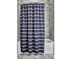 iDesign Tende per Doccia Design a Righe, Tenda per Vasca da Bagno x 183,0 cm in Cotone, Blu Navy/Bianco