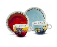 Egan PAF12/1S Set Tazze Cappuccino, Porcellana, Rosso/Celeste, 4 unità