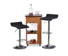 Relaxdays 10022907_46 Set 2 Sgabelli da Bar Altezza Regolabile, Girevoli, Max. 120 kg in Metallo HxLxP: 86 x 39 x 39 cm Nero