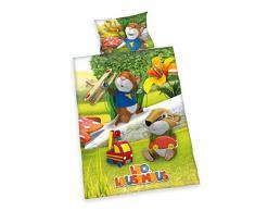 Herding 249015063 - Biancheria da letto da bambini, federa 40 x 60 cm, copripiumino 100 x 135 cm, 100% cotone renforcé, motivo: Leo Lausemaus