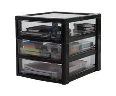 IRIS Ohyama, cassetti Scaffale per Ufficio 3 - Intelligente Chiaro Chest - SCC-300, plastica, Nero/Trasparente, 21 L, 32 x 39 x 32.5