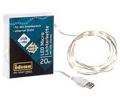 Catena luminosa con 20 LED a luce bianca calda, alimentata tramite USB, per feste, Natale, decorazione, matrimonio, come luce datmosfera, circa 1, 25 m