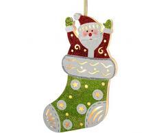 WeRChristmas–Decorazione natalizia in calza di Babbo Natale, multicolore, 44cm