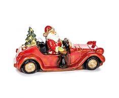 EUROCINSA Babbo Natale in Ceramica decappottabile con Albero di Natale con Luce (Senza batterie) 36 x 17 cm. 1 Pezzo, Rosso/Bianco, Taglia Unica.