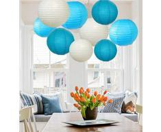 A Liittle Tree a 9Â pezzi misti nuove lanterne di carta rotonde lampada decorazione di nozze festa di compleanno di cielo (paralume), multi