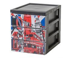 IRIS Ohyama, Scaffale Design Ufficio 3 cassetti - Stile Chest - CFS-A5, plastica, London Tema, 6 L, 19,1 x 25,8 x 22 cm