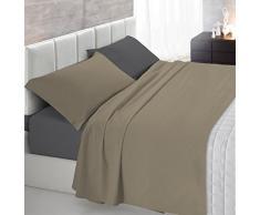 Italian Bed Linen Natural Color Completo Letto Double Face, 100% Cotone, Tortora/Fumo, Matrimoniale