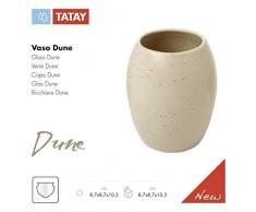 TATAY Dune - Bicchiere porta spazzolini, ceramica, beige, 8,7 x 8,7 x 10,3 cm