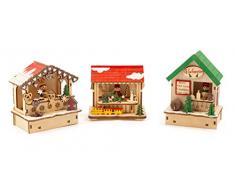 Small Foot 11390 Set di lampade Mercatino di Natale, Tre Casette in Legno con Luce Illuminazione, Multicolore