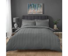 Sleepdown - Set di Biancheria da Letto in Policotone, Motivo a Righe, Colore: Grigio
