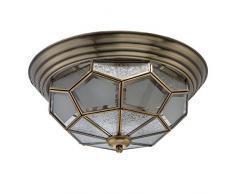 Lampada da soffitto in ottone, vetro opaco, stile Tiffany, casa di campagna, Ø38 cm, 3 luci escluse E14, 3 x 40 W, 230 V.