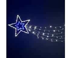 XMASKING Stella acrilica Doppia a 6 Code, 180 cm, 150 LED Bianco Freddo e Blu, Effetto Flashing, Stelle Luminose, Decorazioni Natalizie, luci di Natale