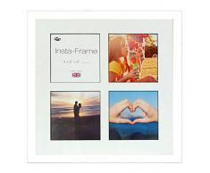 Inov 8 16 x 16 Instaframe cornici fatte di legni, per 4 foto, piazza, Instagram, con un bianco opaco e inserto nero, Bianco