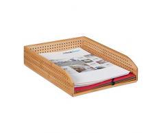 Relaxdays - Portadocumenti in bambù, Perforato, impilabile, Formato A4, per scrivania, Ufficio, Altezza: ca. 7 x 25 x 33 cm, Colore Naturale