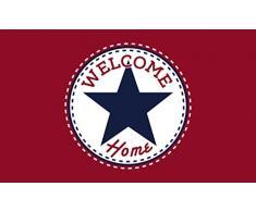 GIFTCOMPANYITALY OGGETTI IDEE DESIGN Zerbino Welcome Star Home, Cocco, Rosso Scuro, 75x2x45 cm