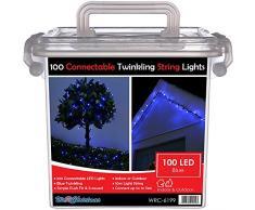 WeRChristmas 10 m di cavi in gomma 100 collegabile scintillanti di Natale LED luci della stringa 2 Pin Maschi e Connettore femmina, Blu