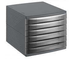 Rotho Cassettiera scatola da ufficio 10820 MK000 Quadra in plastica (PS), formato A4, alta qualità, ca. 37 x 28 x 25 cm, Plastica, anthrazit, 6 Schübe